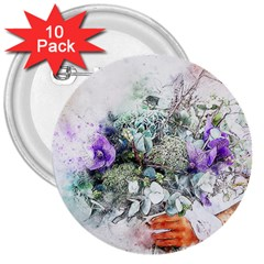 Flowers Bouquet Art Abstract 3  Buttons (10 Pack)