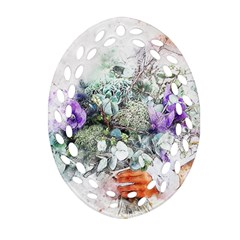Flowers Bouquet Art Abstract Oval Filigree Ornament (two Sides)