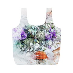 Flowers Bouquet Art Abstract Full Print Recycle Bags (m)