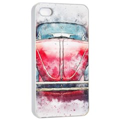 Red Car Old Car Art Abstract Apple Iphone 4/4s Seamless Case (white)