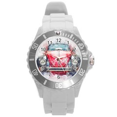 Red Car Old Car Art Abstract Round Plastic Sport Watch (l)