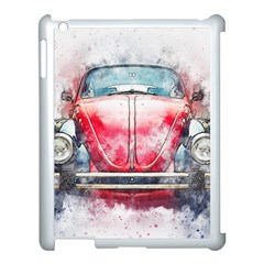 Red Car Old Car Art Abstract Apple Ipad 3/4 Case (white)