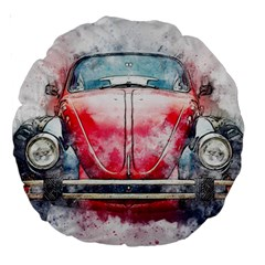 Red Car Old Car Art Abstract Large 18  Premium Round Cushions