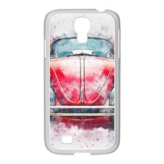 Red Car Old Car Art Abstract Samsung Galaxy S4 I9500/ I9505 Case (white)