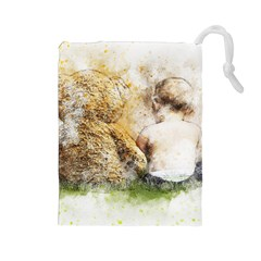 Bear Baby Sitting Art Abstract Drawstring Pouches (large)