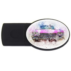 Pink Car Old Art Abstract Usb Flash Drive Oval (4 Gb)