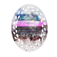 Pink Car Old Art Abstract Oval Filigree Ornament (two Sides)