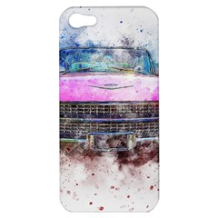 Pink Car Old Art Abstract Apple Iphone 5 Hardshell Case