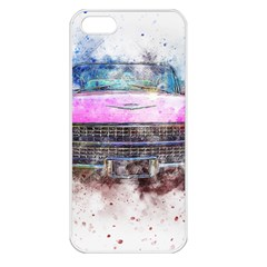 Pink Car Old Art Abstract Apple Iphone 5 Seamless Case (white)