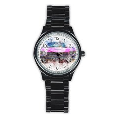 Pink Car Old Art Abstract Stainless Steel Round Watch