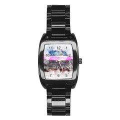 Pink Car Old Art Abstract Stainless Steel Barrel Watch