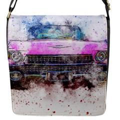 Pink Car Old Art Abstract Flap Messenger Bag (s)