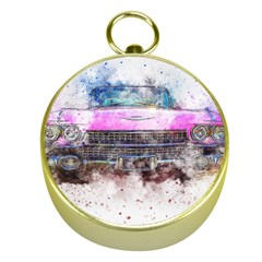 Pink Car Old Art Abstract Gold Compasses