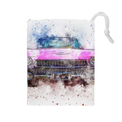 Pink Car Old Art Abstract Drawstring Pouches (large)