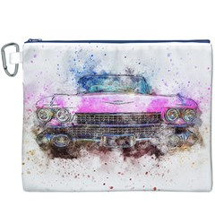 Pink Car Old Art Abstract Canvas Cosmetic Bag (xxxl)