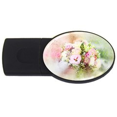Flowers Bouquet Art Abstract Usb Flash Drive Oval (4 Gb)