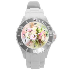 Flowers Bouquet Art Abstract Round Plastic Sport Watch (l)