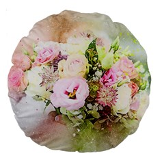 Flowers Bouquet Art Abstract Large 18  Premium Round Cushions