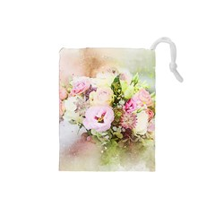 Flowers Bouquet Art Abstract Drawstring Pouches (small)