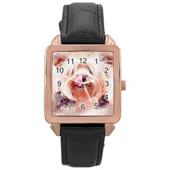 Dog Animal Pet Art Abstract Rose Gold Leather Watch