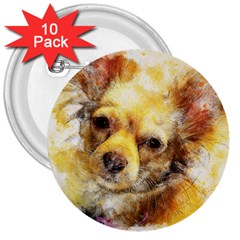 Dog Animal Art Abstract Watercolor 3  Buttons (10 Pack)