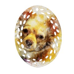 Dog Animal Art Abstract Watercolor Oval Filigree Ornament (two Sides)