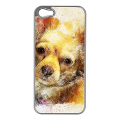 Dog Animal Art Abstract Watercolor Apple Iphone 5 Case (silver)
