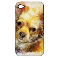 Dog Animal Art Abstract Watercolor Apple Iphone 4/4s Hardshell Case (pc+silicone)