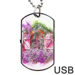 Window Flowers Nature Art Abstract Dog Tag Usb Flash (two Sides)