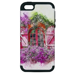 Window Flowers Nature Art Abstract Apple Iphone 5 Hardshell Case (pc+silicone)