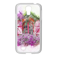 Window Flowers Nature Art Abstract Samsung Galaxy S4 I9500/ I9505 Case (white)