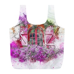 Window Flowers Nature Art Abstract Full Print Recycle Bags (l)