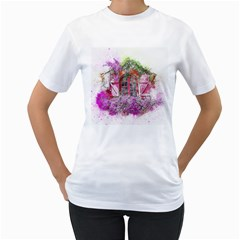 Window Flowers Nature Art Abstract Women s T Shirt (white)