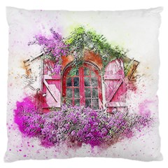 Window Flowers Nature Art Abstract Large Flano Cushion Case (two Sides)