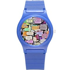Background Painted Squares Art Round Plastic Sport Watch (s)