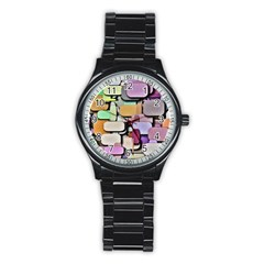 Background Painted Squares Art Stainless Steel Round Watch