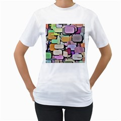 Background Painted Squares Art Women s T Shirt (white)