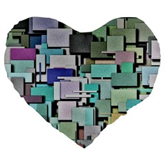 Background Painted Squares Art Large 19  Premium Heart Shape Cushions