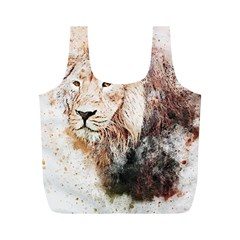 Lion Animal Art Abstract Full Print Recycle Bags (m)