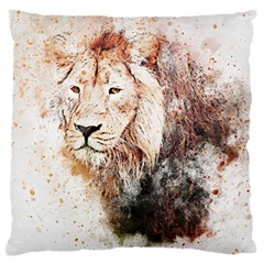 Lion Animal Art Abstract Large Flano Cushion Case (two Sides)