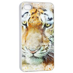 Tiger Animal Art Abstract Apple Iphone 4/4s Seamless Case (white)