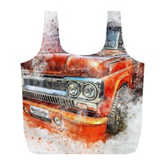 Car Old Car Art Abstract Full Print Recycle Bags (l)