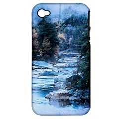 River Water Art Abstract Stones Apple Iphone 4/4s Hardshell Case (pc+silicone)