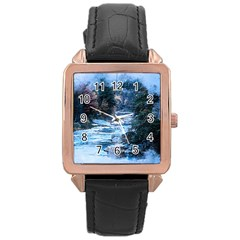 River Water Art Abstract Stones Rose Gold Leather Watch