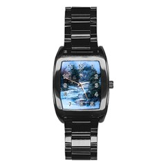 River Water Art Abstract Stones Stainless Steel Barrel Watch