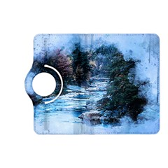 River Water Art Abstract Stones Kindle Fire Hd (2013) Flip 360 Case