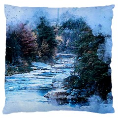 River Water Art Abstract Stones Standard Flano Cushion Case (two Sides)