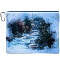 River Water Art Abstract Stones Canvas Cosmetic Bag (xxxl)