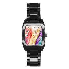 Feathers Bird Animal Art Abstract Stainless Steel Barrel Watch