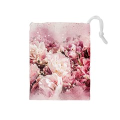 Flowers Bouquet Art Abstract Drawstring Pouches (medium)